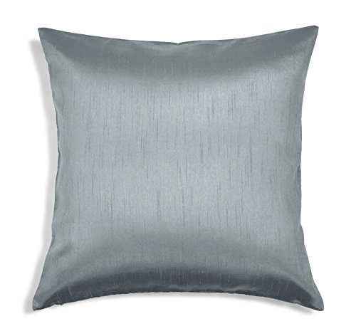 Aiking Home Solid Faux Silk Euro Sham/Pillow Cover, Zipper Closure, 26 by 26 Inches, Charcoal (Measurements Euro Sham)