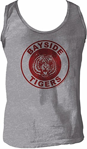 Saved By The Bell Bayside Tigers Logo Heather Gray Men's Tank Top -