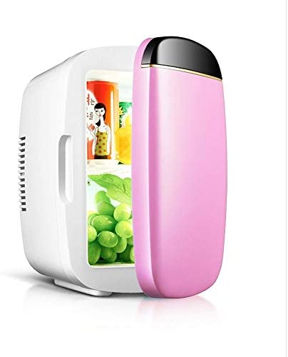 ミニ冷蔵庫 ミニ冷蔵庫6リットルポータブル冷蔵庫、ホット/コールド2モードエレクトリックボックス、12V 220V冷蔵庫冷凍庫、自動車用、家庭や旅行、オフィス、寮クール (Color : Pink)