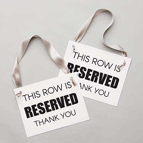 - Reserved Row Signs Set of 2 Chair Seat Banners | This Row Is Reserved, Thank You Modern Block Font for Venue Decor | Corporate Event Conference Wedding Ceremony Aisle Black Ink White Paper Gray Ribbon