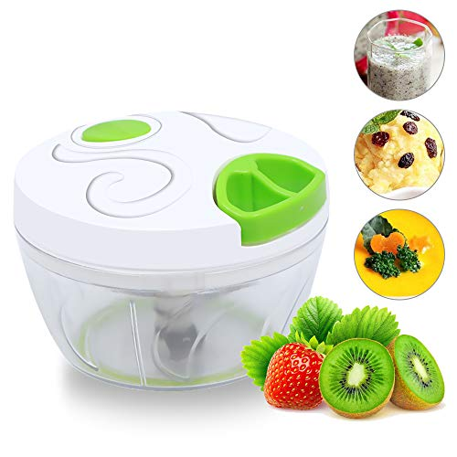LOAZRE Manual Food Chopper, Compact and Hand-Powered Held Vegetable Chopper/Mincer/Blender to Chop Fruits