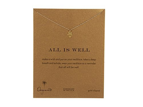Dogeared Women's All is Well Hamsa Reminder Necklace Gold One Size