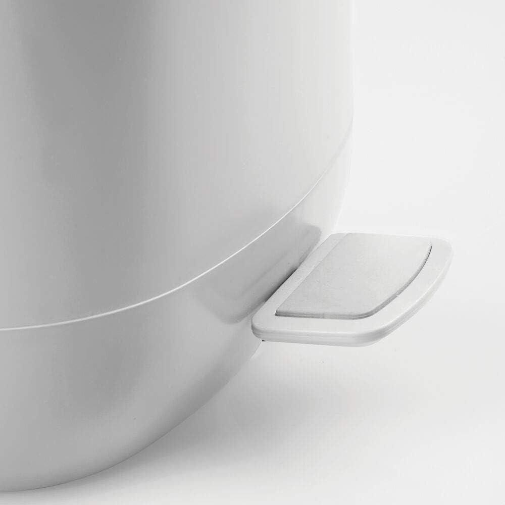 Chambre ou Cuisine Petite Poubelle sous /évier en Plastique Blanc et argent/é Corbeille /à Papier Moderne avec Sceau Amovible mDesign Poubelle /à p/édale de 5 L pour Salle de Bain