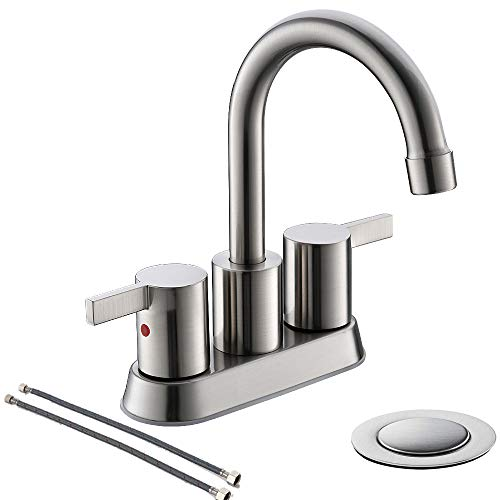 Brushed Nickel 4 Inch 2 Handle Centerset Lead-Free Bathroom Sink Faucet, With Copper Pop Up Drain And Two Water Supply Lines, BF015-1-BN ()