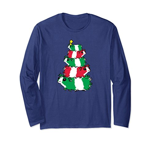 (Unisex Guinea Pig Christmas Tree Shirts Cute Holiday Pigs Tshirts Large Navy)