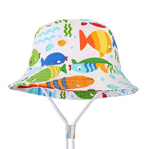 Tantisy ♣↭♣ Kids Cartoon Print Fisherman Cap/SPF 50+ UV Protection Hat/Adjustable/Breathable/Visors for Girls Boys White