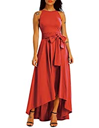 Womens Plus Size Sleeveless Belted Party Maxi Dress with...