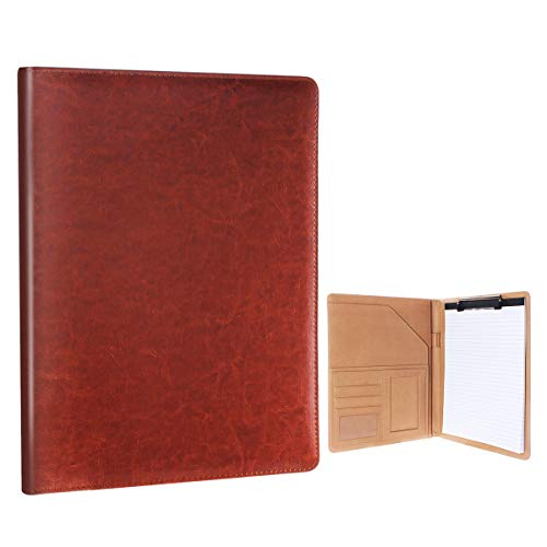 Geila Business PU Leather Resume Storage Clipboard Folder Portfolio Padfolio, Interview/Legal Document Organizer & Business Card Holder for Office Conference (Brown)