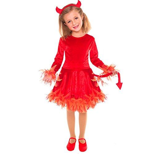 Devil Costumes Kids (Girls Devil Evil Warlock Wizard Fancy Dress Costume - 3 Piece Quality Costume)