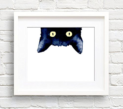 Sneaky Black Cat Watercolor Cat Art Print by Artist DJ Rogers (Cat Watercolor)