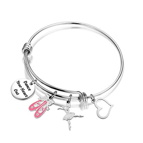 - PLITI Dance Teacher Ballet Dancer Gift Ballerina Bracelet Dance Your Heart Out Bangle I Hope You Dance Keychain Pink Ballet Shoe Dance Bracelet for Dance Recitals (Your Heart Out2)