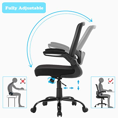 BestOffice Office Chair Mesh  Desk Chair Lumbar Support Desk Chair Ergonomic Adjustable Computer Chair Swivel Ergonomic Task Chair with Flip Up Armrest for Home & Office,Mid Back, Black by BestOffice (Image #5)