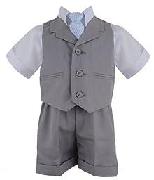G240 SILVER Baby Toddler Boy Summer Suit Vest Short Set (3T, Silver)