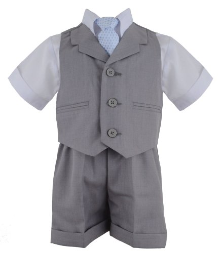Gino Giovanni G240 Silver Baby Toddler Boy Summer Suit Vest Short Set (4, Silver) ()