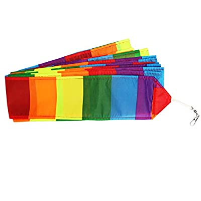 Fanthee Kite Tail Line,10/15/30m Rainbow Color Blocking Long Kite Tail Line Outdoor Sports Accessory 8: Sports & Outdoors