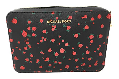(MICHAEL Michael Kors Women's Large East/West Cross Body Bag (Black/Roses))