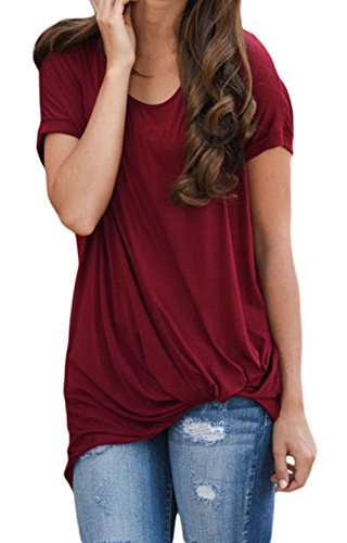 DH-MS Dress Women's Solid Burgundy Front Knot Short Sleeves Tee (Abba Fancy Dress Outfits)