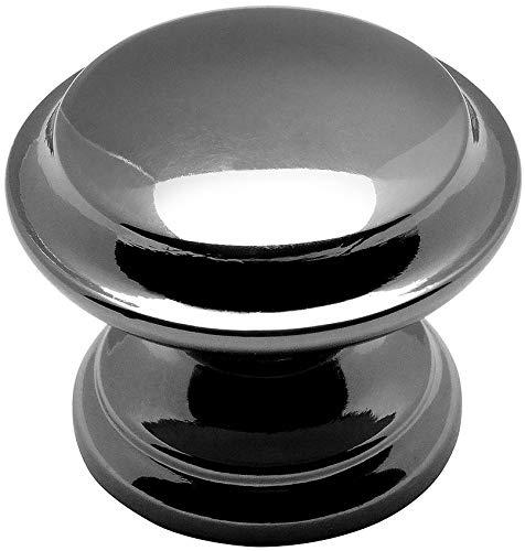 Black Nickel Base - 10 Pack - Cosmas 4251BN Black Nickel Cabinet Hardware Round Knob - 1-3/8