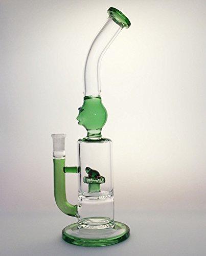 12'' Height Glass Frog Figure Barrel Water Cyclone Perc (Green) (Glass Water Percolator)