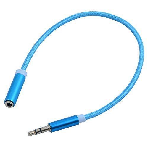 eDealMax Nylon Smartphone Universal DE 3,5 mm Macho a hembra Cable de extensin Audio 250mm Largo Azul