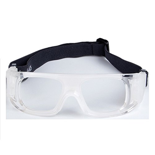 Wonzone Protective Sports Goggles Safety Basketball Glasses Eyewear for Adults with Adjustable Strap for Basketball Football Volleyball Hockey Rugby (White)