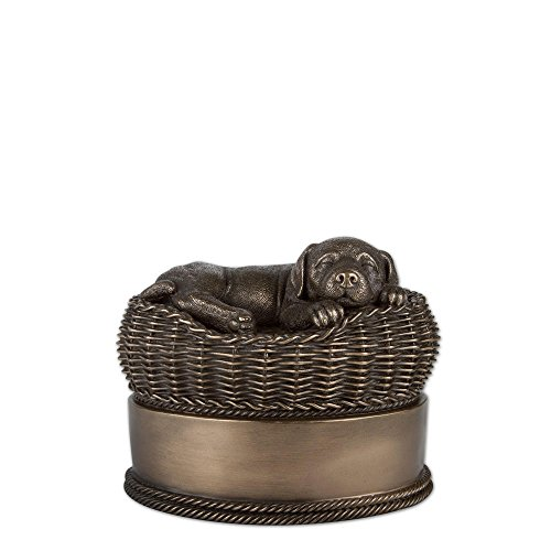 Perfect Memorials Small Bronze Dog in Basket Cremation Urn from Perfect Memorials