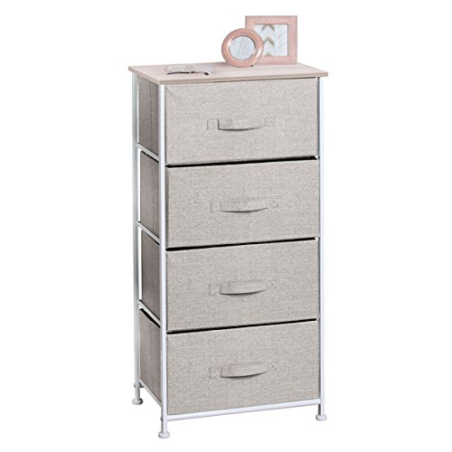 mDesign Fabric 4-Drawer Storage Organizer Unit for Bedroom, Nursery, Office - Linen