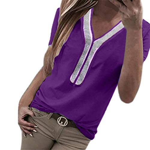 NCCIYAZ Womens T-Shirt Sequins Short Sleeve V-Neck Tops