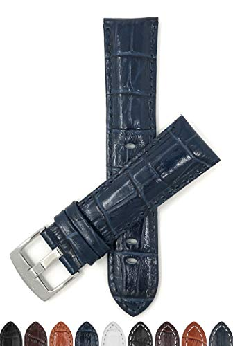 (Bandini 20mm Mens Italian Leather Watch Band Strap - Blue - Alligator Pattern)