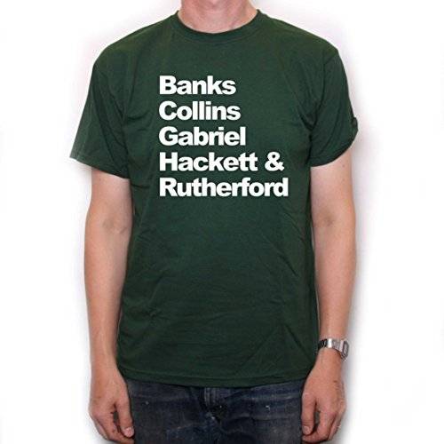 Old Skool Hooligans Banks Collins Gabriel Hackett & Rutherford Names T Shirt Green (Peter Gabriel Selling England By The Pound)