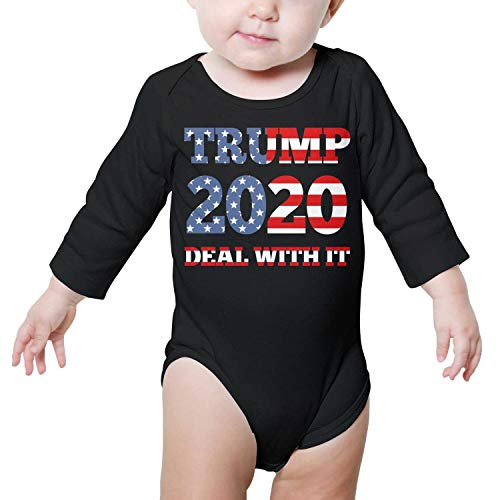 - Trump 2020 Deal with IT Political Humor Flag Baby Onesie Black Bodysuit Long Sleeve Natural Organic Cotton Unique