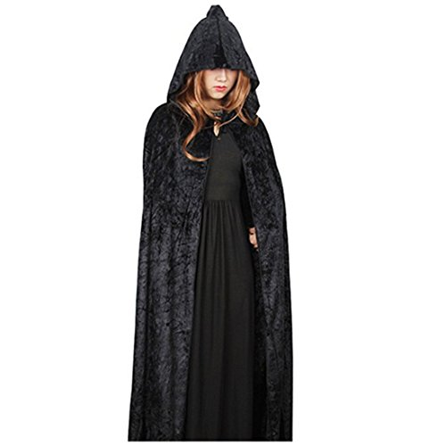 Neal LINK Women Halloween Costume Velvet Hooded Cloak Dress up Cosplay Wizard Party Capes (1)]()
