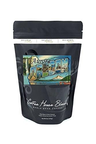Aurora Oregon (Aurora, Oregon - Large Letter Scenes (8oz Whole Bean Small Batch Artisan Coffee - Bold & Strong Medium Dark Roast w/ Artwork))