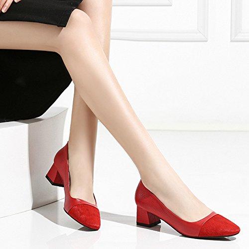 Tacones Tacón Alto Red Zapatos Mujer De Cuero De Tacón Gruesos DKFJKI Zapatos Medio Bombas wWXRq8n4U
