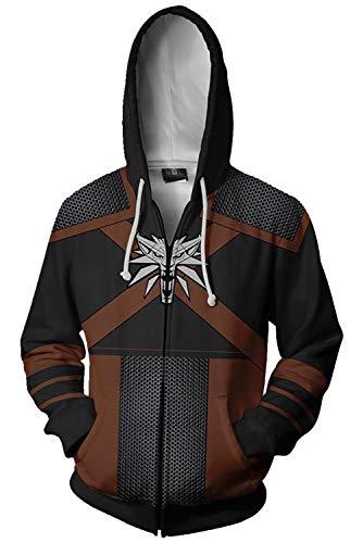 MUCLOTH 3D Printing White Wolf Geralt of Rivia Zip up Hoodie Sweatshirt Adult Zipper Jacket Cosplay Costume Unisex (Medium, Black)