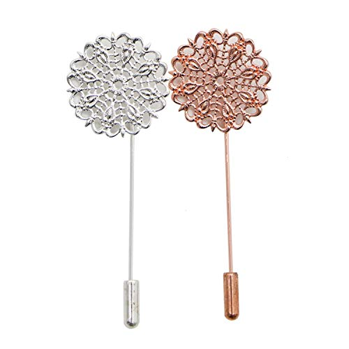 (JETEHO 20 Pieces Flower Coat Stick Pin with Clutches Brooches for Badge, Corsage, Name Tags and Jewelry Craft Making, Silver and Rose Gold)