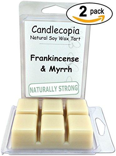Candlecopia Frankincense & Myrrh Strongly Scented Hand Poured Premium Natural Soy Wax Melts, 12 Soy Wax Cubes, 6.4 Ounces in 2 x 6-Packs