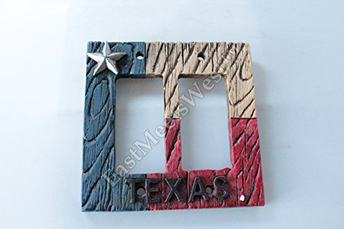 Western Cowboy Texas Flag Star Switch Plate Covers Electric Outlet Rustic Wood Look Decor (Double - Texas Outlets