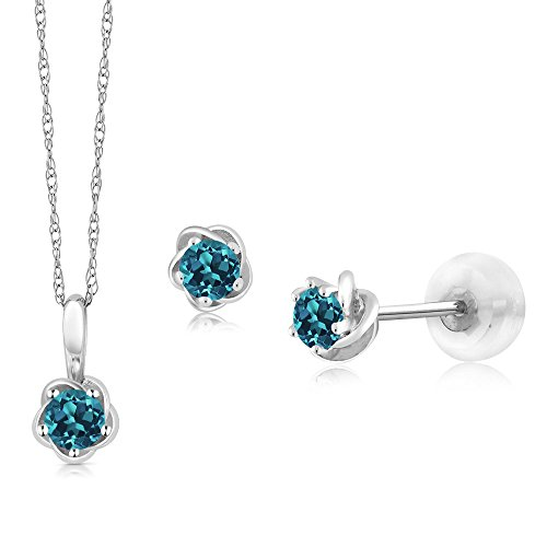 (Gem Stone King 10K White Gold 0.46 Ct Round London Blue Topaz Pendant Earrings Set with Chain)