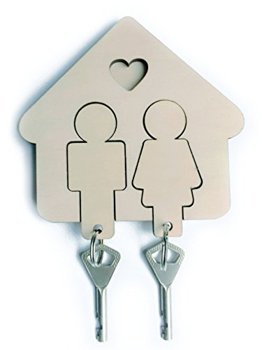 Key Holder U0026 2 Key Chains, Wall Mount Key Hanger With Cute His U0026 Hers  Keychains, Premium Wooden Key Organizer, Easy Install Sticker Fastening,  Nice DIY Idea ...