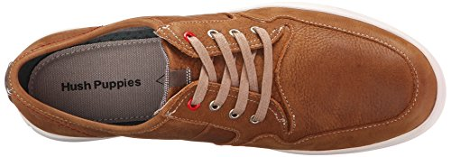 Hush Puppies Mens Strada Hanston Pelle Sneaker In Pelle Marrone Chiaro