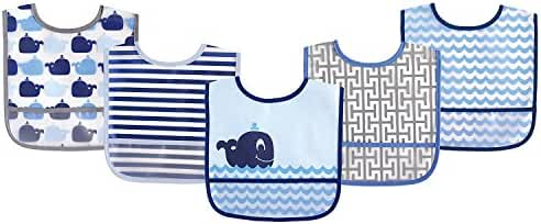 Luvable Friends 5 Piece Waterproof Bibs with Crumb Catcher, Blue Whale