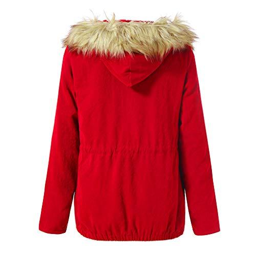 Cappuccio Casual Coat Elegante Maglione Giubbotto Cappotto Donna Giacche Pelliccia Cutude Rosso Invernale Giacca qwBInv