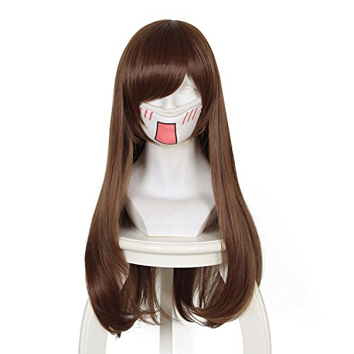 Price comparison product image Cfalaicos 25'' Long Straight Dark Brown Cosplay Wig with Free Wig Cap
