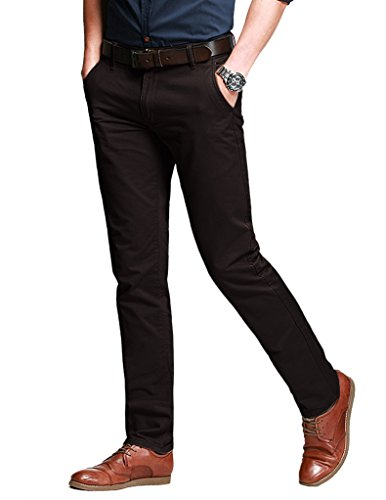 Match Men's Fit Tapered Stretchy Casual Pants (36W x 31L, 8103 Brown)