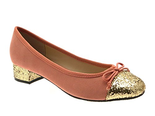 WOMENS FAUX LEATHER BALLET PUMPS BALLERINAS COURT SHOES TWO TONE LOW BLOCK HEELS GIRLS LADIES SIZE UK 3-8 Pink/Glitter 0N9ag