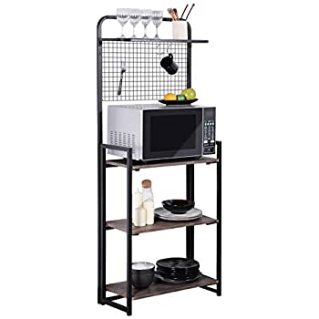 GreenForest Kitchen Baker's Rack, Folding Design 4 Tier Kitchen Standing Storage Rack with Microwave Organizer, Easy Assembly, Walnut