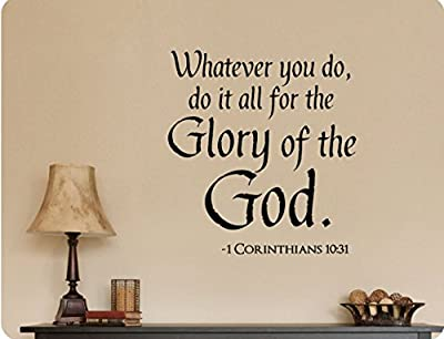 """24""""x24"""" Whatever You Do It For The Glory Of GOD Religious Christian Wall Decal Sticker Art Mural Home DŽcor Quote"""