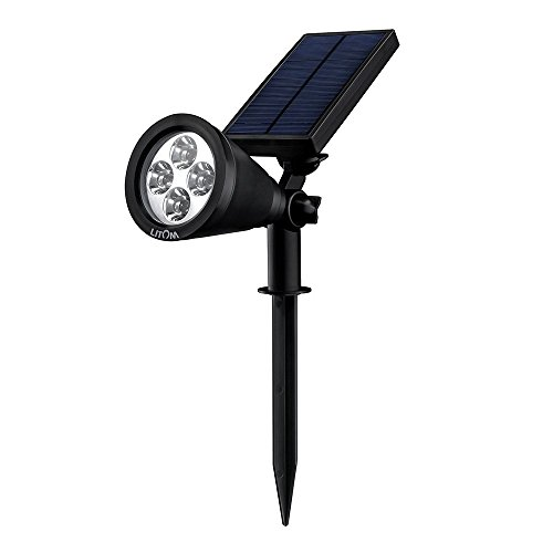 Litom Solar Spotlights, 4 LED Outdoor Landscape Lights, 90°Adjustable Waterproof Security Lighting, 2-in-1 Auto On/ Off Wall Lights for Lawn, Flag, Yard, Driveway, Garden, Party