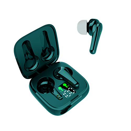 New Wireless Earbuds J6, Bluetooth 5.2 Earbuds Waterproof 5H Play Time Headphones Auto Pairing in-Ear Bluetooth Earphones Wireless Headset with Mini Charging Case for Android/iOS Devices (Dark Green)